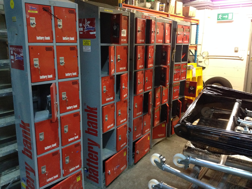 Second hand ex hire battery banks waiting to be fully refurbished.